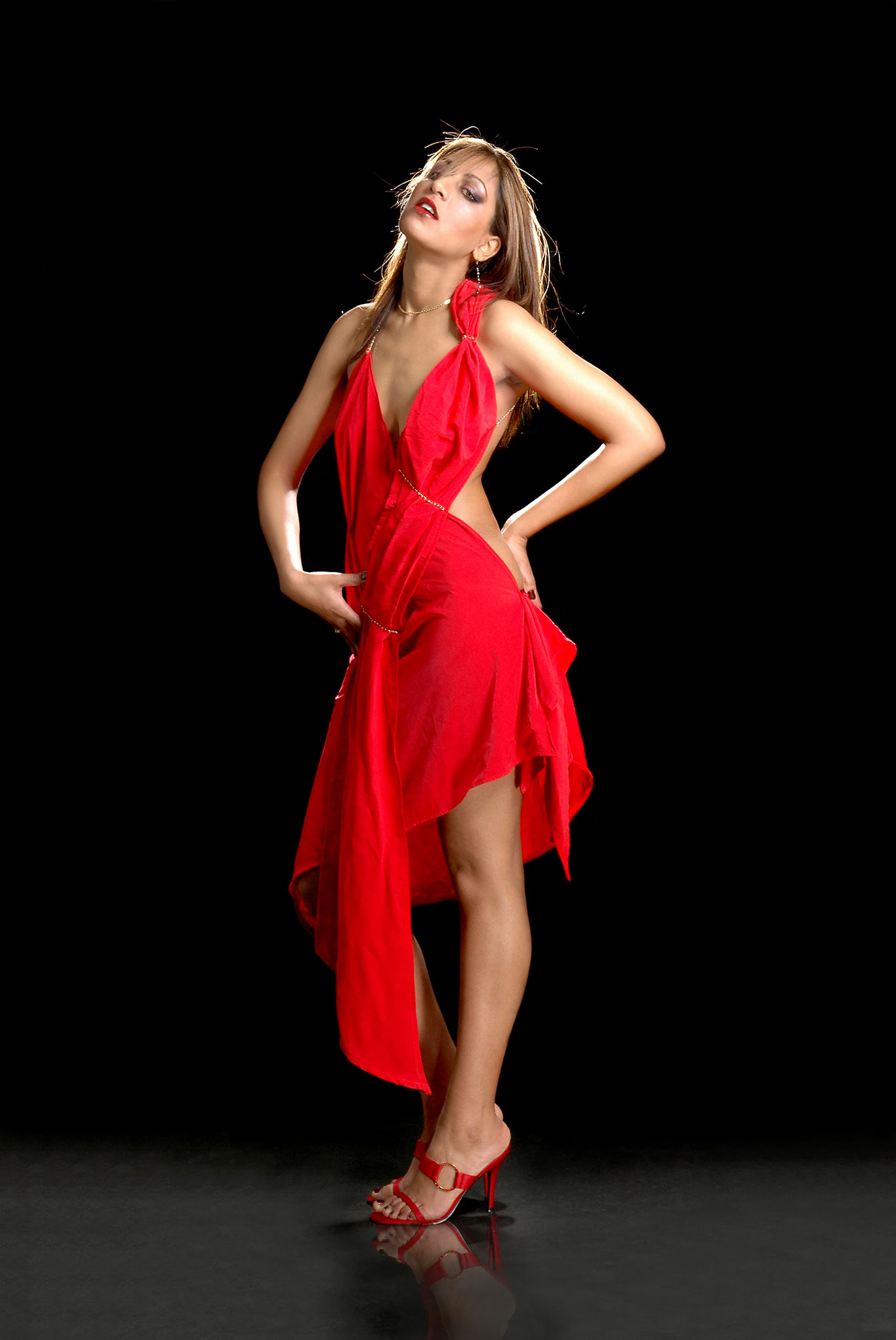 Leatherhead model in red dress by Epsom Photographer Ray Ball Surrey KT18