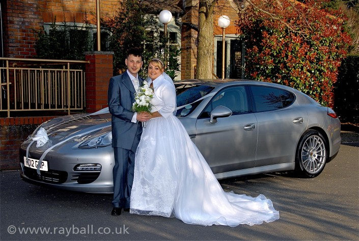 Bride, groom and car at Morden wedding reception by Epsom Photography Surrey