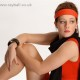 Tadworth model in red and black at Epsom Photography studio.