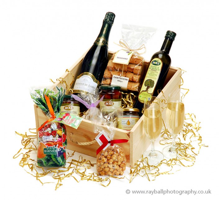 Commercial advertising photograph of Christmas hamper for Purley company Croydon at Epsom Photography Studio Surrey