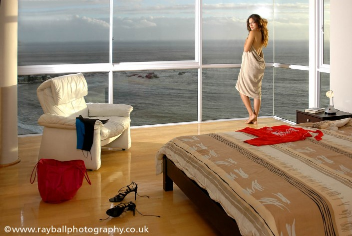 Kingston model in coastal appartment in South East England by commercial photographers Epsom Photography Surrey.