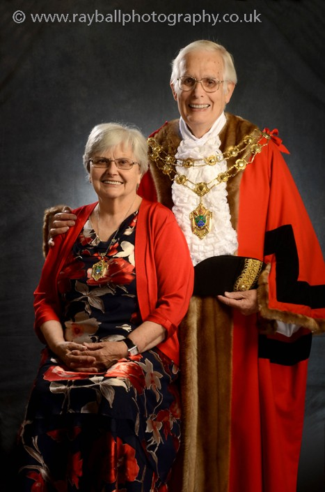 Portrait of the Mayor of Epsom and Ewell with his wife the Lady Mayor. The Epsom races were originally a steeple chase between Epsom and Banstead.