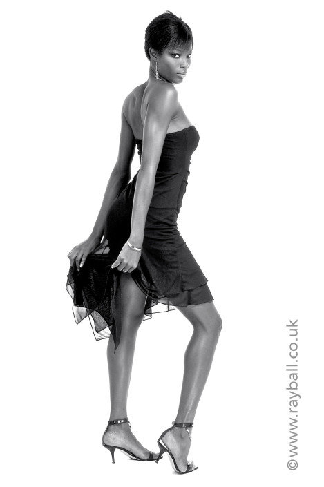 Girl from Ashtead modelling black dress at Epsom Photography Studio Surrey.