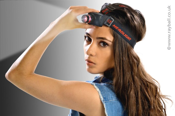 Bannstead model demonstrating head torch by Flexifoil Leatherhead at Epsom Photography Studio Surrey