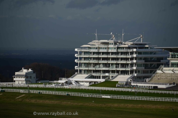 Queen's and Prince's stands at Epsom Races Surrey.