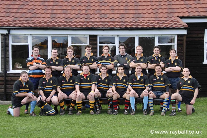 Old Haileyburian rugby team by their club house in Stoneleigh Epsom, Surrey