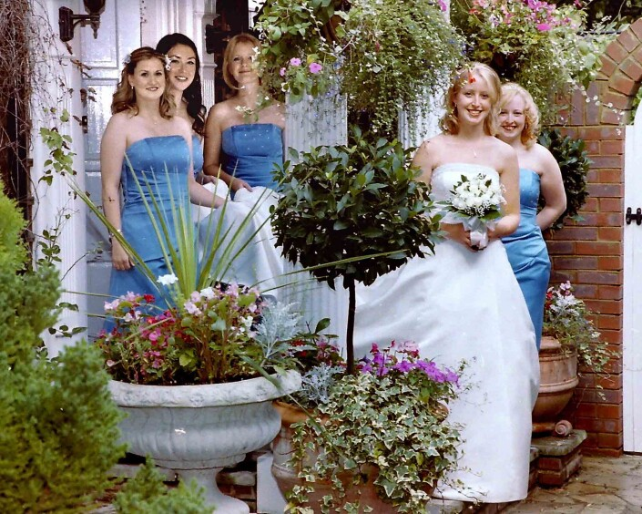 My beautiful picture of Sutton bride and bridesmaids in garden Worcester Park