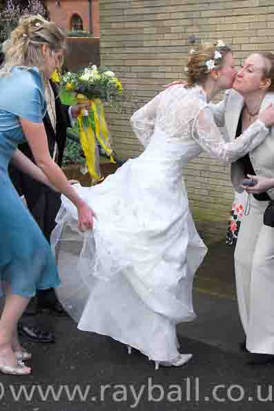 Bride greeting guest, Leatherhead.