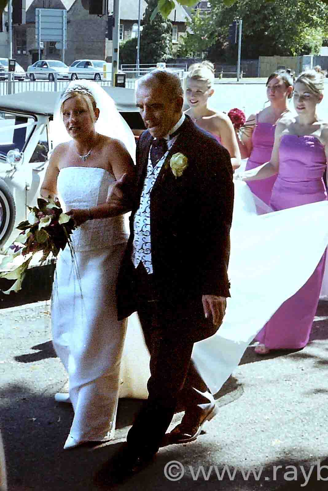 Bride with Dad and Maids Long Ditton by Epsom Photography.
