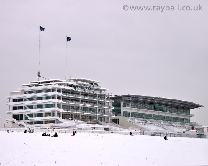 Epsom Downs Racecourse Grandstand in the snow.