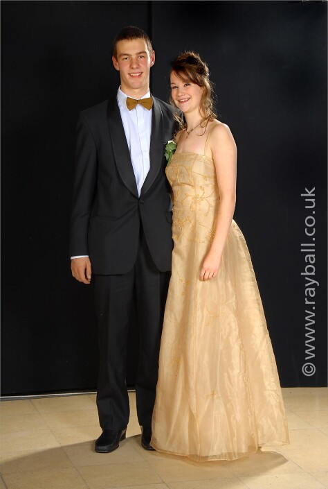 Portrait of young couple at Therfield School prom Leatherhead