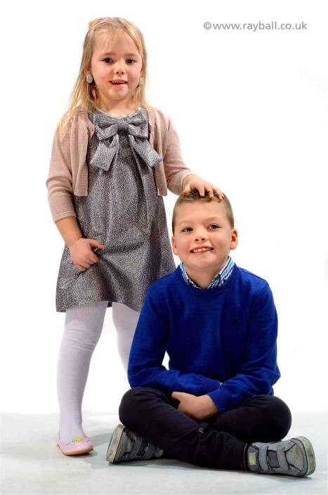 Studio children's portrait of Cheam siblings