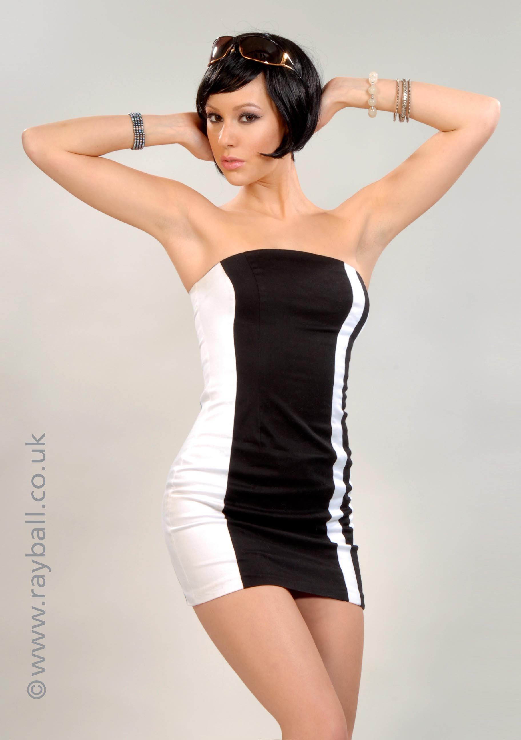 Worcester Park model in Courreges dress from Tolworth at Epsom Photography Studio Surrey.