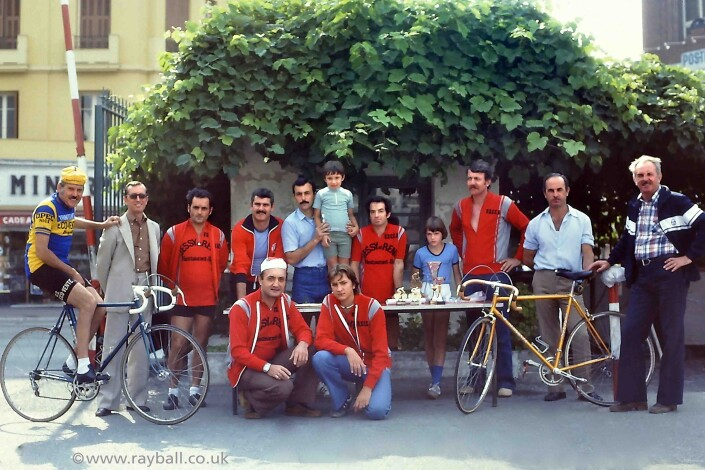 Photograph of Worcester Park cyclists at presentation in France