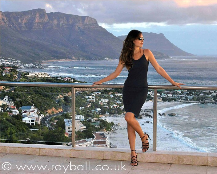 Sutton fashion model in black dress Cape Town.