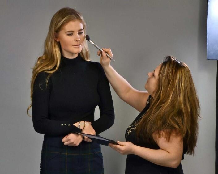 Sutton makeover session in photo studio.