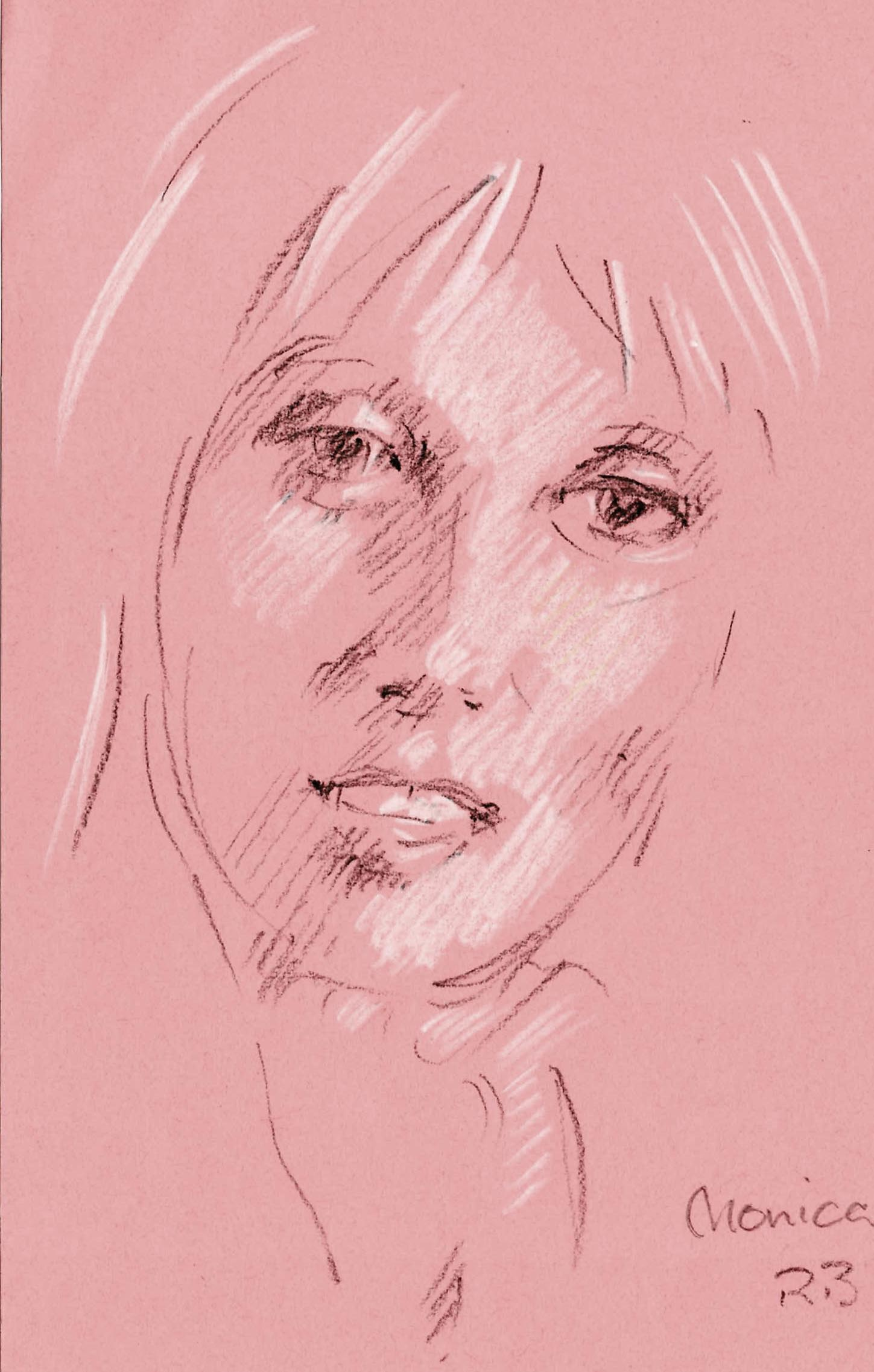 Pastel sketch of girl in Worcester Park Greater London.