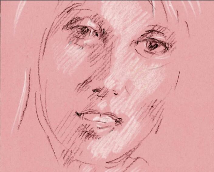Crayon portrait on pink paper Esher Surrey