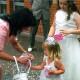 Sutton bridesmaids with confetti.