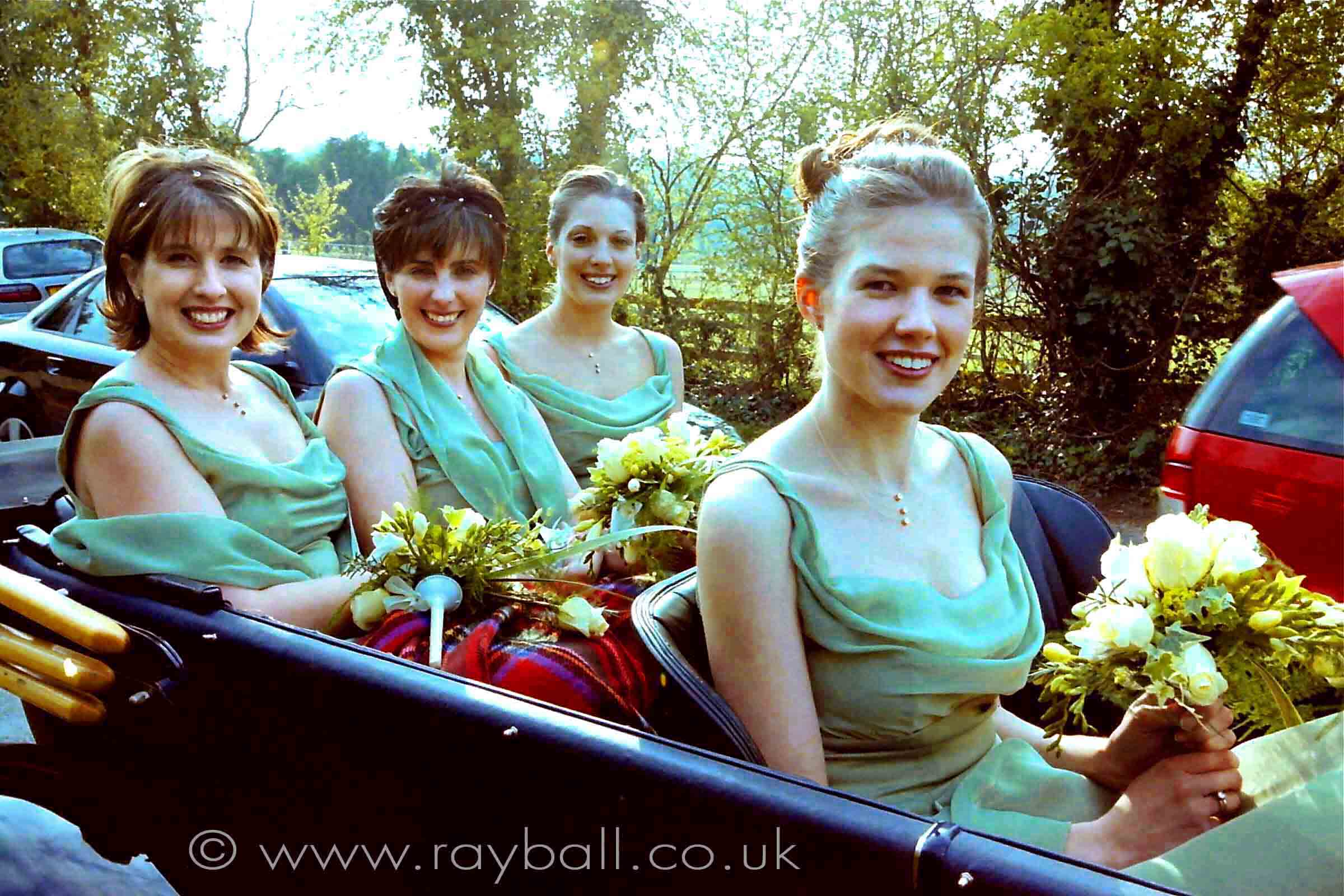 My picture of four beautiful bridesmaids in car in Long Ditton, Surrey.