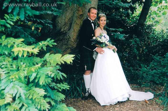Bride and groom in woods near Sutton, SW London.